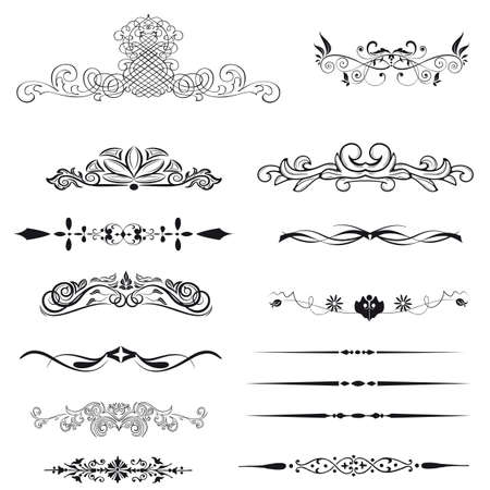 divider: Vector set calligraphic element and page decoration