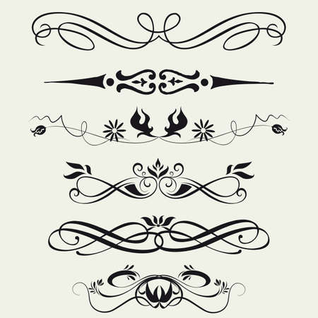 calligraphy: Borders and elements for design  Vector