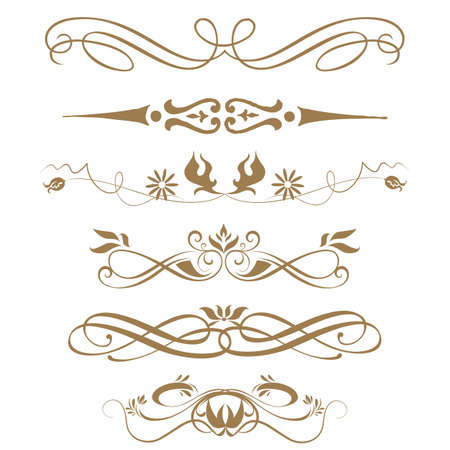 calligraphic: Borders and elements for design  Vector