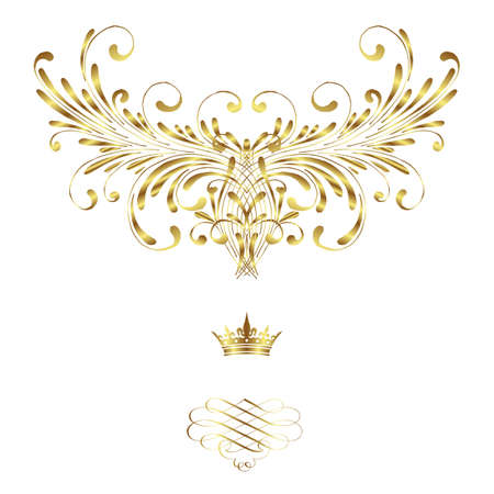 royal rich style: Elegant frame banner with crown, floral elements on the ornate background  Vector illustration