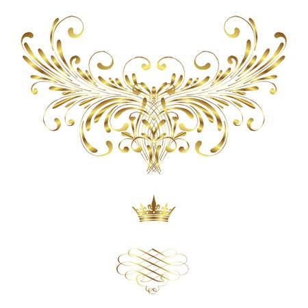 blue damask: Elegant frame banner with crown, floral elements on the ornate background  Vector illustration