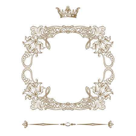 barok ornament: Elegante gouden frame banner Vector illustratie