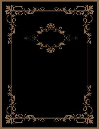 復古的黑色背景,古董金色邊框,維多利亞裝飾,美麗的舊紙,證書,獎勵,皇家文憑,華麗的封面頁,豪華豐富的觀賞性花卉