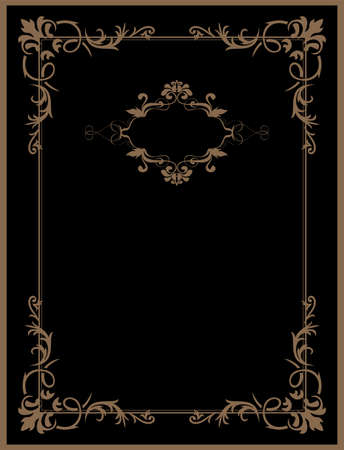 book cover: Vintage black background, antique gold frame, victorian ornament, beautiful old paper, certificate, award, royal diploma, ornate cover page, floral luxury rich ornamental