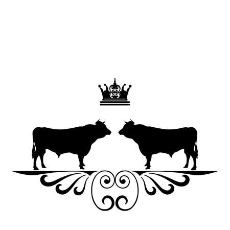 An illustration of a stylised black bull Vector