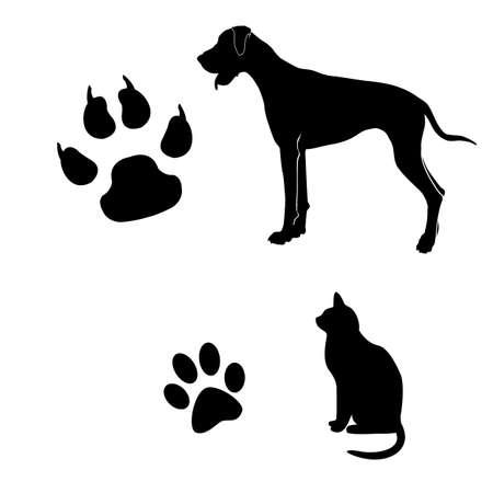 huellas de perro: Gato y perro ilustraci?n en blanco y negro con sus pasos