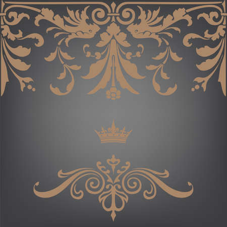 Elegant gold frame banner with crown, floral elements on the ornate background  Vector illustration   Stock Vector - 19735441