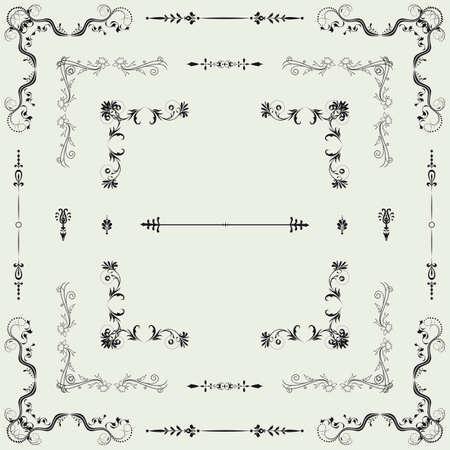page decoration: Vector set van decoratieve horizontale florale elementen, hoeken, randen, het frame Pagina decoratie