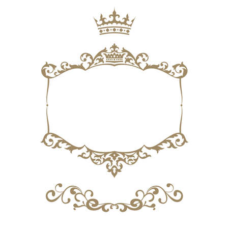 royal: Elegant royal frame with crown isolated on white background