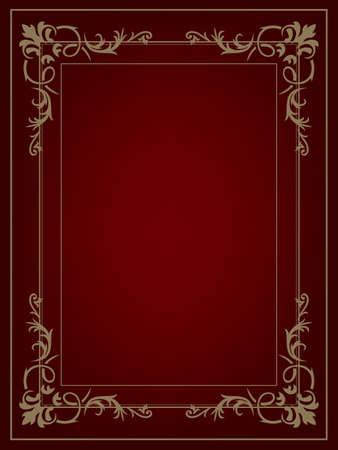 古美術品: ビンテージ背景、アンティーク ゴールド フレーム、ビクトリア朝の装飾、美しい古い紙、証明書、賞、ロイヤル卒業証書、華やかな表紙、花の贅沢な豊かな観賞植物  イラスト・ベクター素材