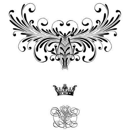 Elegant frame banner with crown, floral elements on the ornate background  Vector illustration   Vector