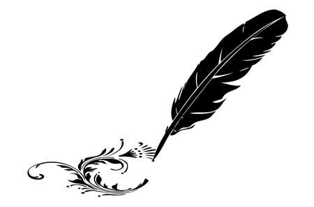 feather pen: Black-and-white feather and flourish