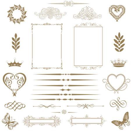 calligraphy frame: Vector conjunto los elementos caligr�ficos de dise�o y decoraci�n de p�gina - muchos elementos �tiles para embellecer su dise�o