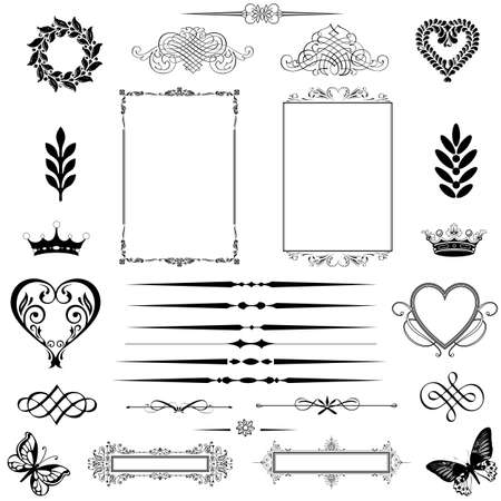 ornamental scroll: vector set  calligraphic design elements and page decoration - lots of useful elements to embellish your layout