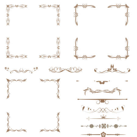 refine: Vector set di elementi decorativi floreali orizzontali, angoli, bordi, telaio, corona decorazione Pagina Vettoriali
