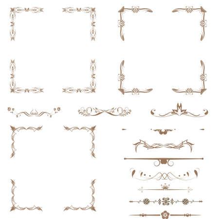 ozdobně: Vektorové sada dekorativních horizontálních květinovými prvky, rohy, hranice, rám, koruna stránky dekorace Ilustrace