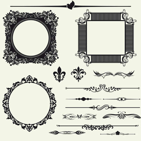 baroque border: Vector set of decorative horizontal floral elements, corners, borders, frame, crown  Page decoration