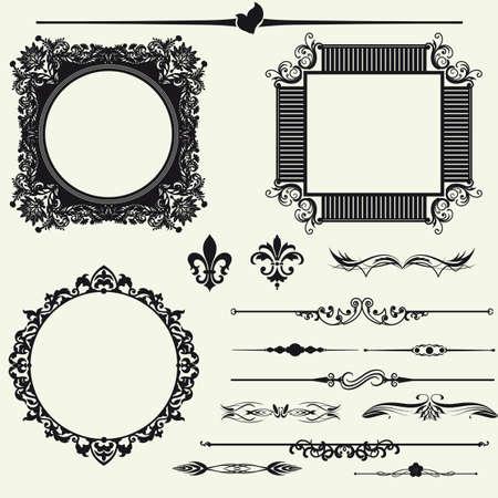 page decoration: Vector set van decoratieve horizontale florale elementen, hoeken, randen, kader, kroon Pagina decoratie