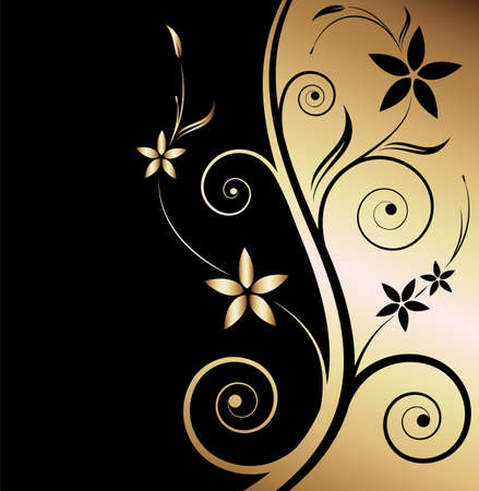 Black and gold floral background  Vector