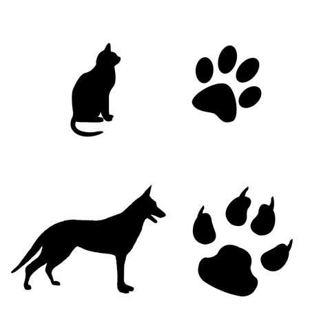 huellas de pies: Gato y perro ilustraci?n en blanco y negro con sus pasos