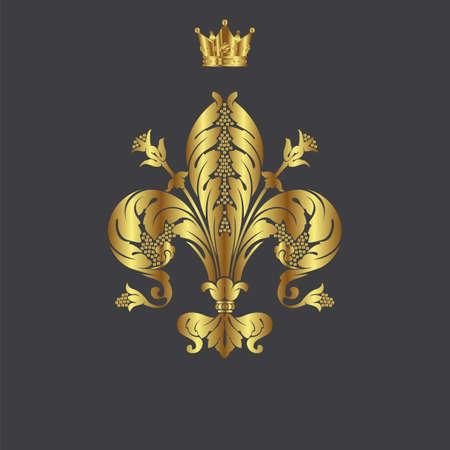 Elegant gold frame banner with crown, floral elements on the ornate background  Vector illustration   Vector