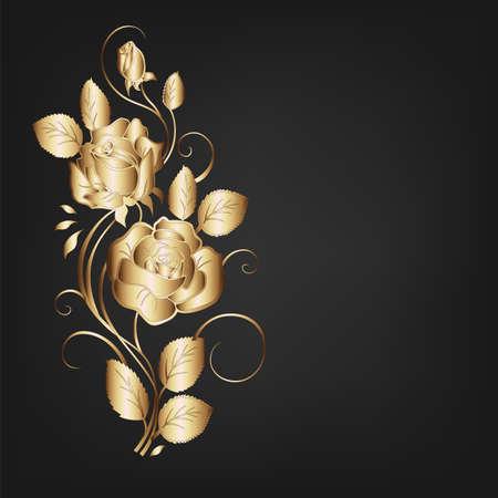 vintage floral black background  Vector
