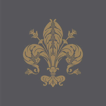 wealth abstract: Elegant gold frame banner with crown, floral elements on the ornate background illustration
