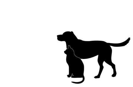 狗和貓的剪影