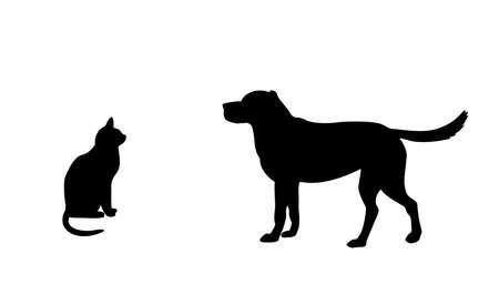 tierschutz: Hund und Katze Silhouette Illustration