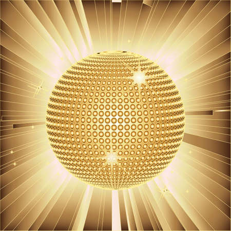 Sparkling gold disco ball and lens flares  Vector