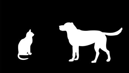 labrador retriever: dog and cat silhouette