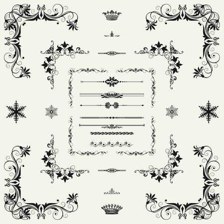 calligraphique: Ensemble d'�l�ments d�coratifs horizontaux floraux, les coins, les fronti�res, cadre, couronne d�coration de la page