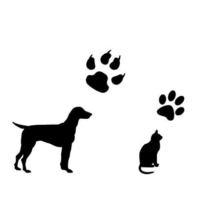 white cat: Cat and dog black and white illustration with their footsteps