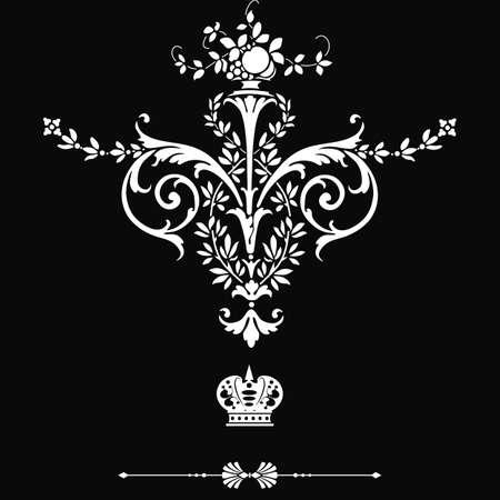 filigree: Elegant frame banner met kroon