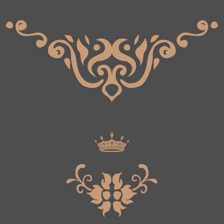 royal rich style: Elegant gold frame banner with crown