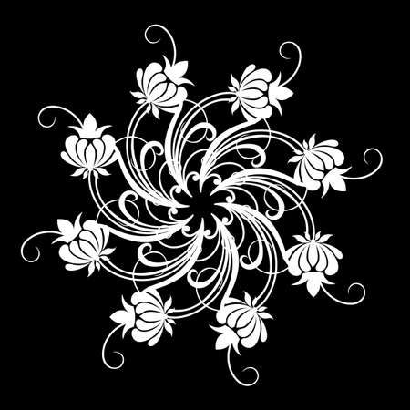 Vector flowers patterns on a black background Vector