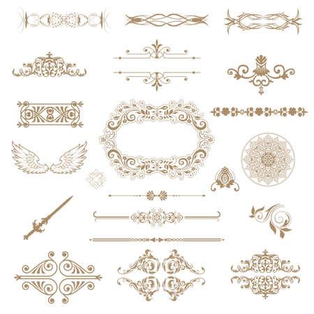 calligraphic design:  Vector set of decorative horizontal floral elements