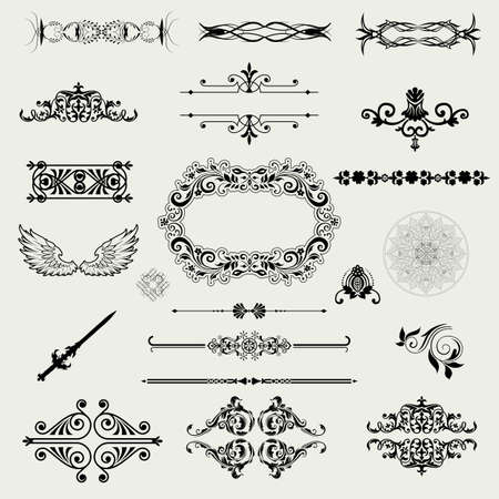 baroque background:  Vector set of decorative horizontal floral elements