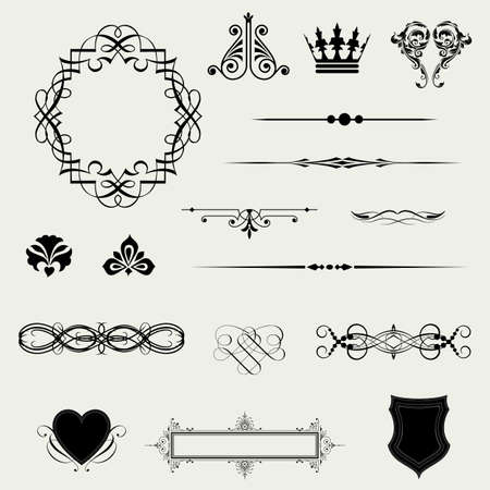 Vector set of decorative horizontal floral elements