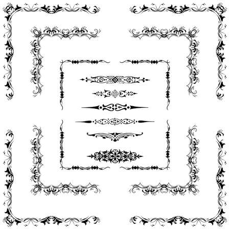 corner border:  Vector set of decorative horizontal floral elements