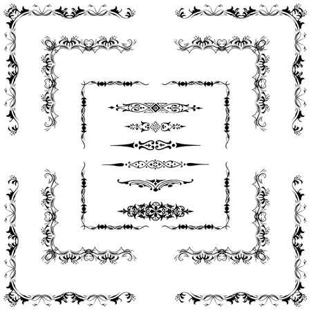 hoekversiering: Vector set van decoratieve horizontale bloemen elementen