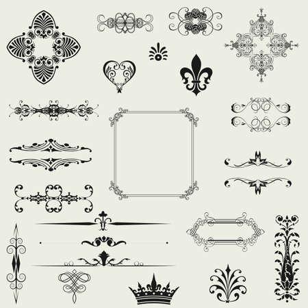 page decoration: kalligrafische ontwerpelementen en pagina decoratie Stock Illustratie