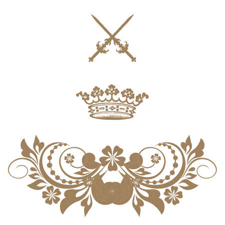 Elegant gold frame banner with crown