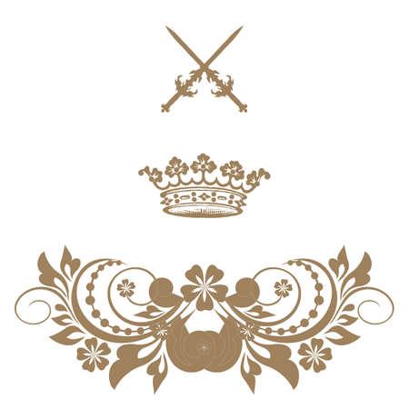 doilies: Elegante marco de la bandera de oro con la corona Vectores
