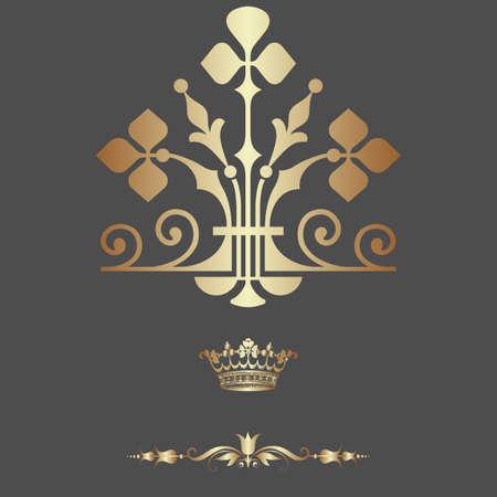 Elegant gold frame banner with crown Vector