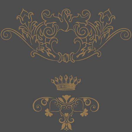 Elegant gold frame banner with crown Vector