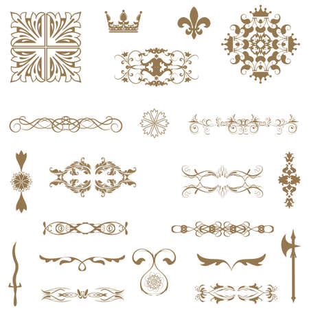 ornamental scroll: Vector set of decorative horizontal floral elements, corners, borders, frame, crown  Page decoration