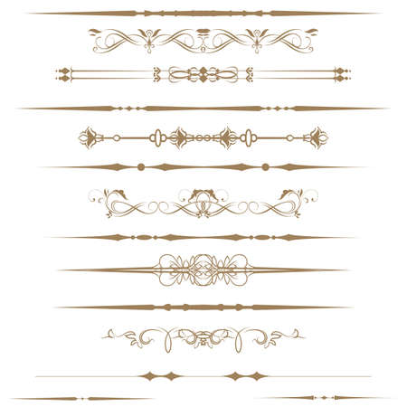 rule line: Collection of Ornamental Rule Lines in Different Design styles