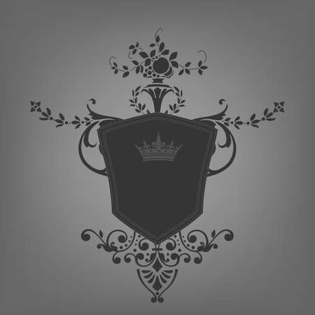 Vintage emblem with shield and crown Vector