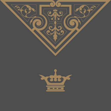 Elegant gold frame banner with crown, floral elements on the ornate background illustration  Vector